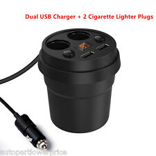 Smart Cup Style Multiple Dual USB Ports 2 Cigarette Lighters Plugs LED Display