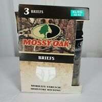 Mossy Oak Mens Briefs 3 Pack sz XL/EG 40-42 Olive Green, Black, Camo New in Box