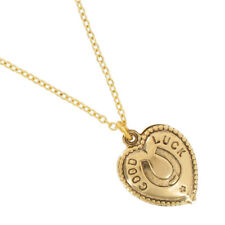 USA Made Gold Tone Chain Horse Shoe Good Luck Heart Charm Pendant Necklace