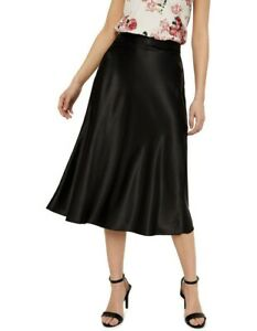 Vero Moda Black Satin Midi Skirt Size Small