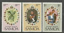 SAMOA 1981 PRINCESS DIANA ROYAL WEDDING Set 3v MNH.