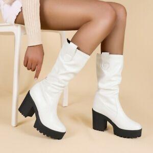 Women's Punk Chunky High Heel Gothic Mid-Calf Platform Western Knight Boots D