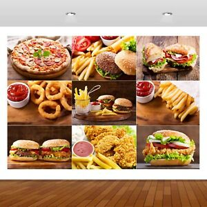 BBQ Grill Burger Flames Display Pizza Mural Decal Wall Sticker Poster Vinyl S275