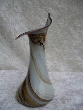 Glas Vase OBERSTDORFER Glashütte - mundgeblasen - Blumenform Paperlabel - RAR -
