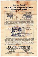 [55420] 1953 LIONEL TRAINS No. 480-25 MAGNETIC COUPLER CONVERSION INSTRUCTIONS
