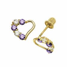 Jewelry & Watches Careful 14k White Gold Diamond Cut Pink Sapphire Flower Child Stud Earrings Screw Back