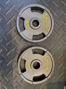 """25 Lb Golds Gym 2"""" Olympic Grip Weight Plates Set Of 2 - 50 lb Total Authentic"""