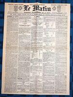 La Une Du Journal Le Matin 4 Décembre 1887 Élection De Sadi Carnot