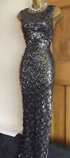 STUNNING ❤️ JANE NORMAN Size 8 Black Silver Long Evening Wiggle Sequin Dress