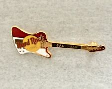 "SAN JUAN HARD ROCK CAFE Red & White Reverse Firebird Guitar Pin~2 3/8""L x 7/8"" W"