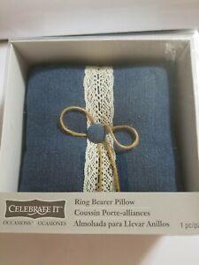 "Wedding ring bearer blue denim  7"" x 7"" New. USA"