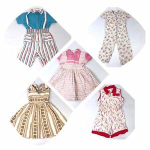 ORIGINAL VINTAGE 1950s babies childrens girls romper jumpsuit red floral size 2