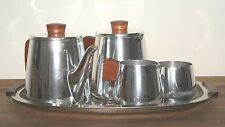 Retro Mid Century Sona Ware 5 Piece Aluminium Tea Set   Teak Handles on Tray