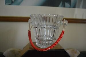 1960s retro vintage cut glass ice bucket with red woven handles