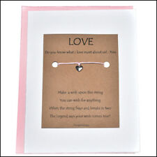 Thoughtful Greeting Card and Wish Bracelet Love You the Most with Heart Charm -