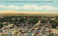 1940s Postcard; Birdseye Panorama of Rawlins WY Lincoln Hwy 30 Carbon County