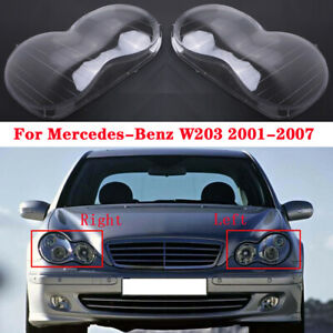 Left&Right Headlight Lens Cover Replacement For Mercedes Benz C-Class W203 01-07