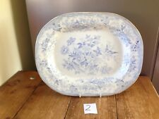 LOVELY LARGE ANTIQUE BLUE & WHITE ASIATIC PHEASANTS MEAT PLATE PLATTER 2 OF 4