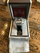 Nicolet 1886 Sapphire Crystal NT322001 Wrist Watch & Crocodile Band! NEW IN BOX!