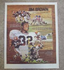 JIM BROWN SIGNED AUTOGRAPHED ART PRINT CLEVELAND BROWNS #32 FULLBACK HOF 26.5X33