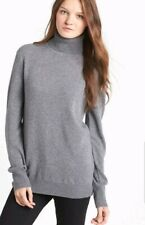 New $318 EQUIPMENT 'Oscar' Cashmere Turtleneck Sweater, Heather Grey, Large