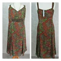 Per Una Ladies size 20 Beaded Sheer Lined Summer  Dress Flared Forest Colours #3