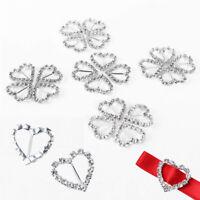 Diamante Silver Heart Buckles Rhinestone Ribbon Sliders Party Card Invites Decor