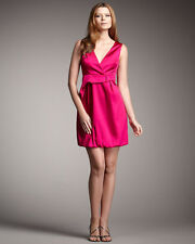 PHOEBE COUTURE Magenta Pink SATIN Bubble DRESS Size 6 NWT $310