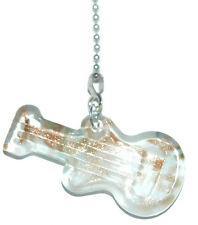 WHITE & GOLD SPARKLE GUITAR GLASS CEILING FAN PULL (FP028)