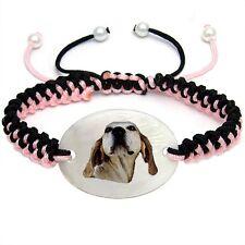 Dunker Dog Mother Of Pearl Natural Shell Adjustable Knot Bracelet Bs154
