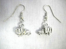 NEW 3D ARMY TRUCK AMERICAN MILITARY PEWTER CHARM DANGLING EARRINGS WAR TRUCK USA