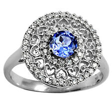 Natural Tanzanite & Cubic Zirconia 925 Sterling Silver Ring Jewelry s.8 2490R