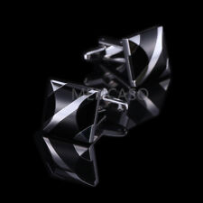 1 Pair Men Suit Shirt Silver Black Onyx Stone Dress Cufflinks Cuff Link Wedding