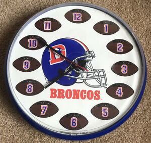 NFL Denver Broncos Football Wall Clock Man Cave  P & K Product 1991 Not Working