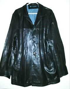 KENNETH COLE REACTION Genuine Leather Jacket Black Mens Size Large Preowned GC!