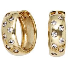 JOBO Creolen rund 333 Gold Gelbgold 16 Zirkonia Ohrringe Goldohrringe Goldcreole