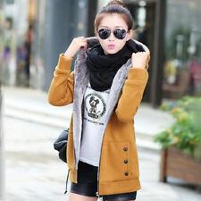 Women Thicken Fleece Fur Lining Trench Coat Jacket Ladies Hooded Hoodies Outwear