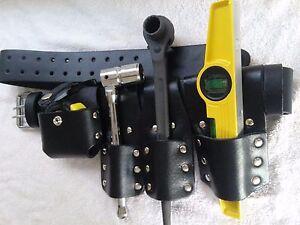 Scaffolding Leather Belt Set with Full Tools - Heavy Duty Black Ratchet 19/22