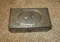 Antique Pressed/Embossed Pewter Covered Wooden Trinket Box (Arts and Crafts)