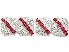 1.68ct Natural Round Diamond 14k Solid White Gold Ruby Gemstone Mens Cufflinks
