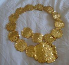 Women 18k Gold Plated Belt Metal Vintage Fashion Flowers Floral