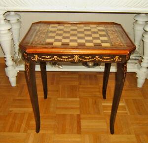Schachspiel Tisch Roulett Beistelltisch mit Intarsien Italien