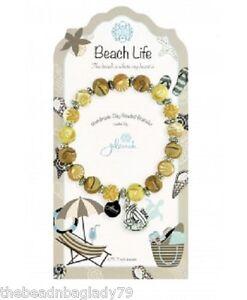 NEW JILZARA Clay Beads BEACH LIFE Seahorse Sand Cream Petite 8mm Bracelet