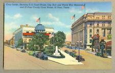 VINTAGE POSTCARD CIVIC CENTER WAR MEMORIAL COURT HOUSE CITY HALL EL PASO TX 1930