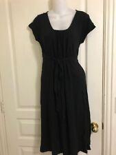 Ann Taylor Loft Maternity Black Knit Dress Pleated Front Belted Stretch Size 4