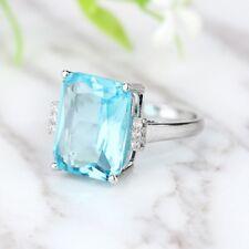 Fashion Lady Exquisite Simple Silver Rectangle Aquamarine Ring Wedding Size 5