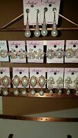 Joblot of 12 Pairs Mixed Design Sparkly Diamante Earrings-NEW Wholesale C