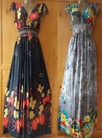 UK Women Butterfly Floral Party Beach Bohoo Long Maxi Dress Plus Size 10 - 22