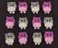 12 x Hippo Hippopotamus Zoo animals CUPCAKE TOPPERS edible Jungle Birthday Cake