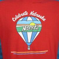 vintage 1988 MILLER LITE CAMPBELL NEBRASKA BALLOON T-Shirt M/L beer thin 80s